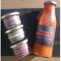 Assortiment Gaspacho et terrines de truite